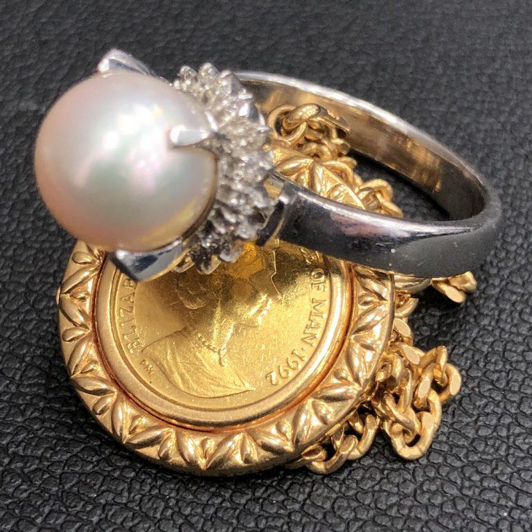 純金コイン+K18ネックレス/ Pt850真珠リング
